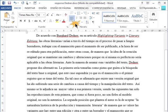 Imagen de texto alineado a la izquierda en Word 2013.
