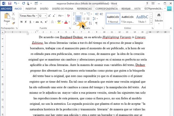 Imagen de texto centrado en Word 2013.