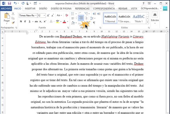 Imagen ejemplo de texto alineado a la derecha en Word 2013.