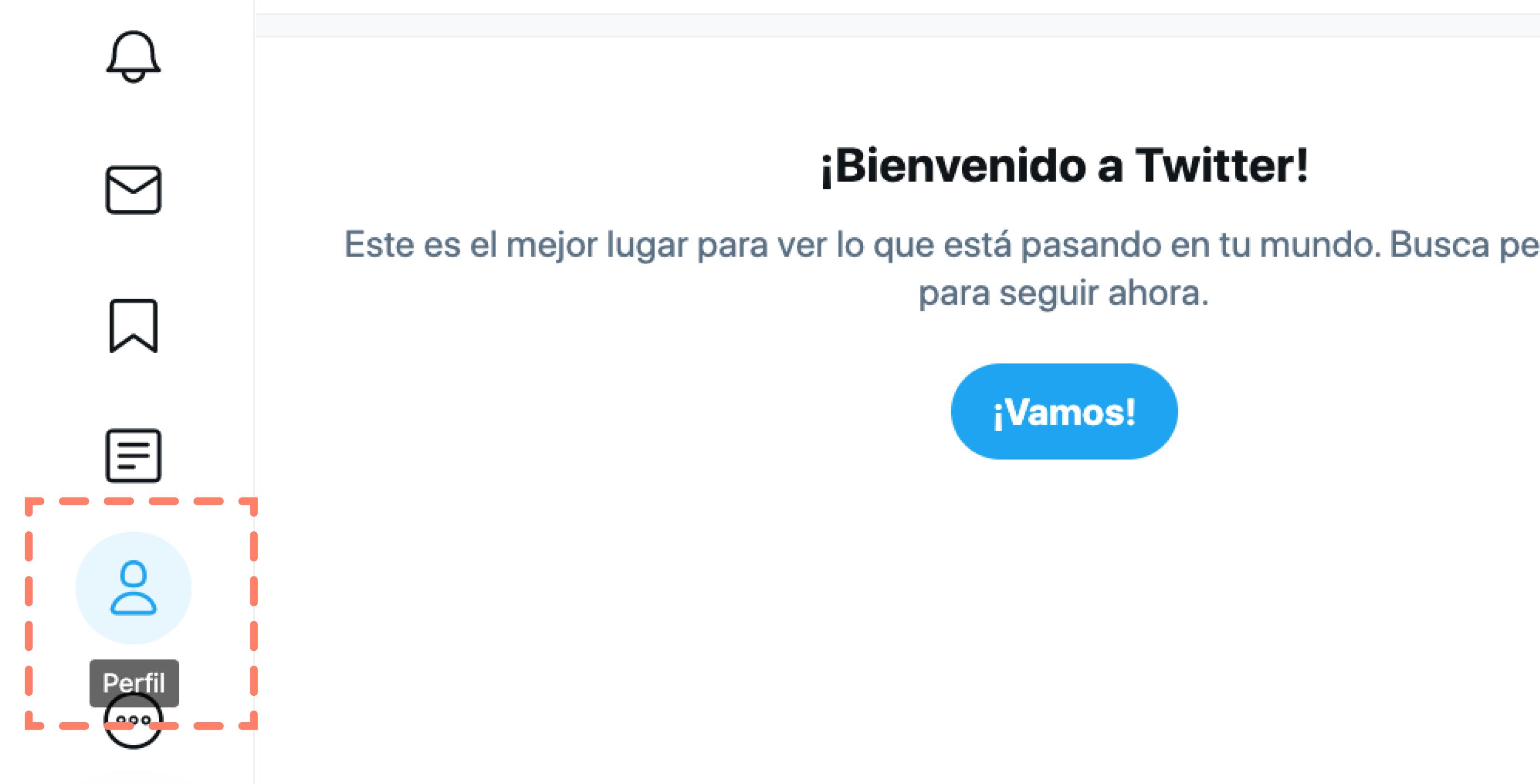 Opción perfil en panel general de opciones de Twitter