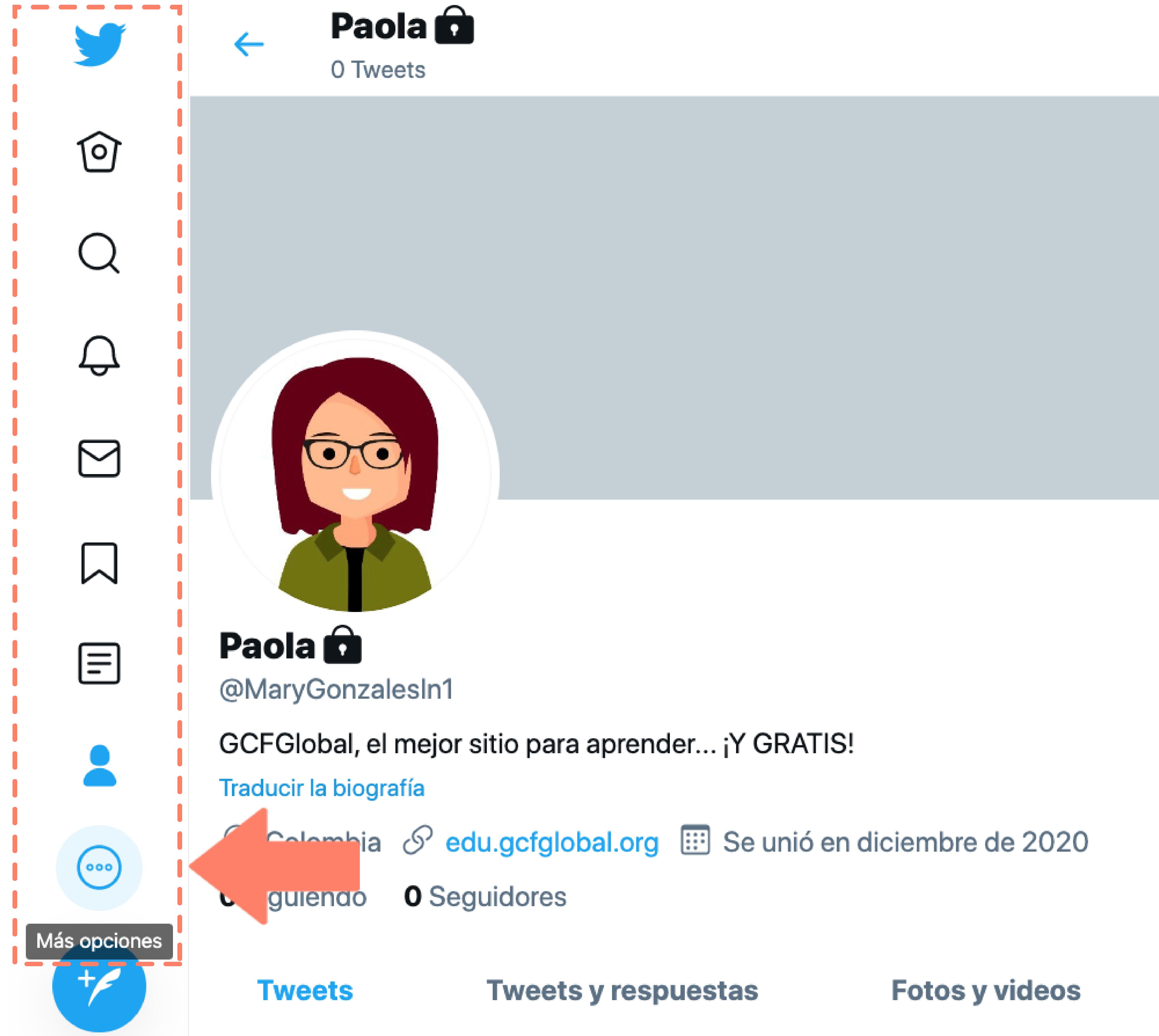 Hacer clic en botón Más opciones en panel de opciones general de Twitter.