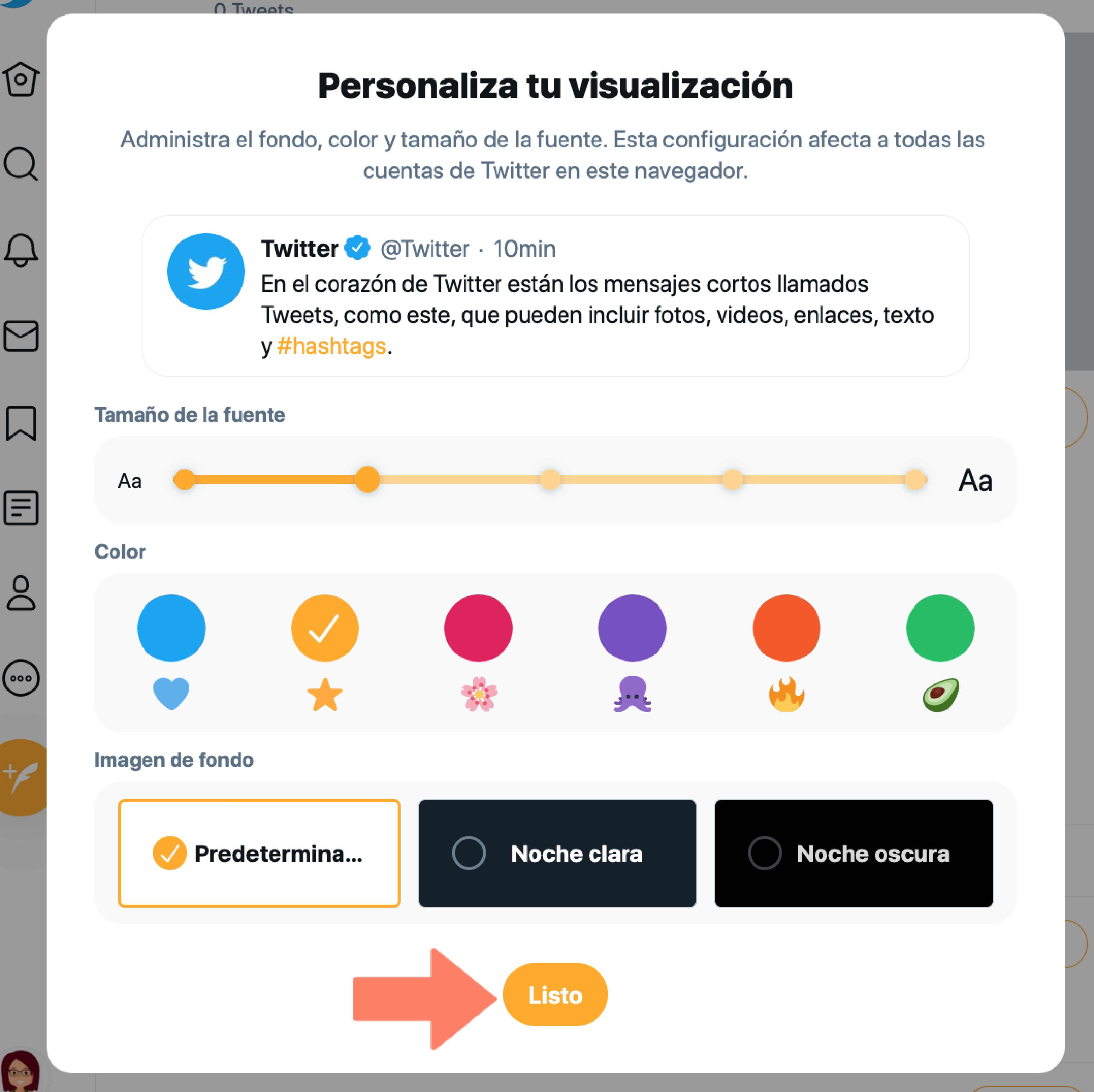 Hacer clic en botón Listo, para guardar los cambios tras la personalización de la interfaz en Twitter.