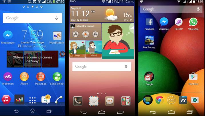 Imágenes ejemplo de pantallas de inicio de diferentes equipos con sistema operativo Android.