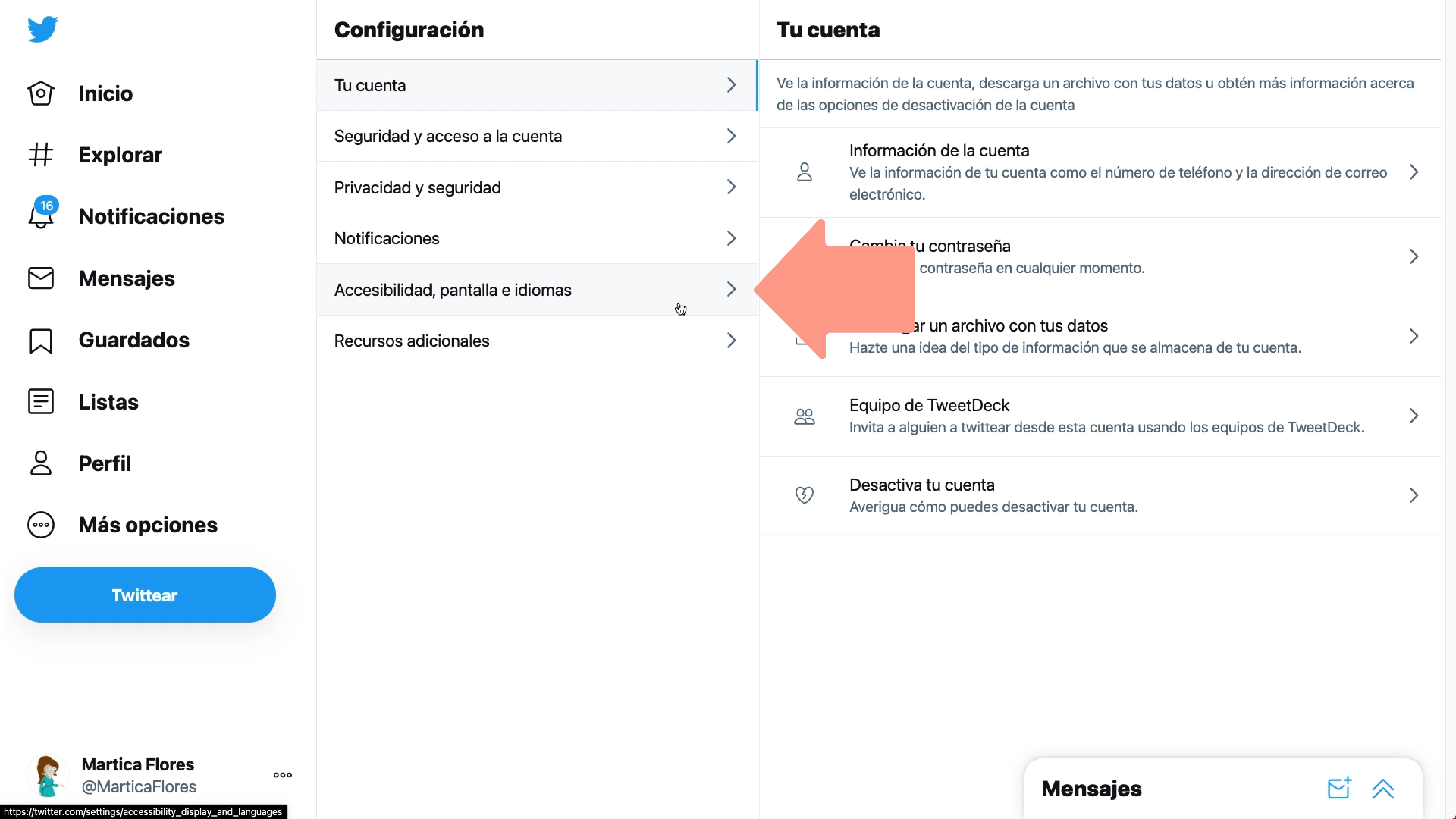 Imagen haciendo clic en Accesibilidad, pantalla e idiomas.