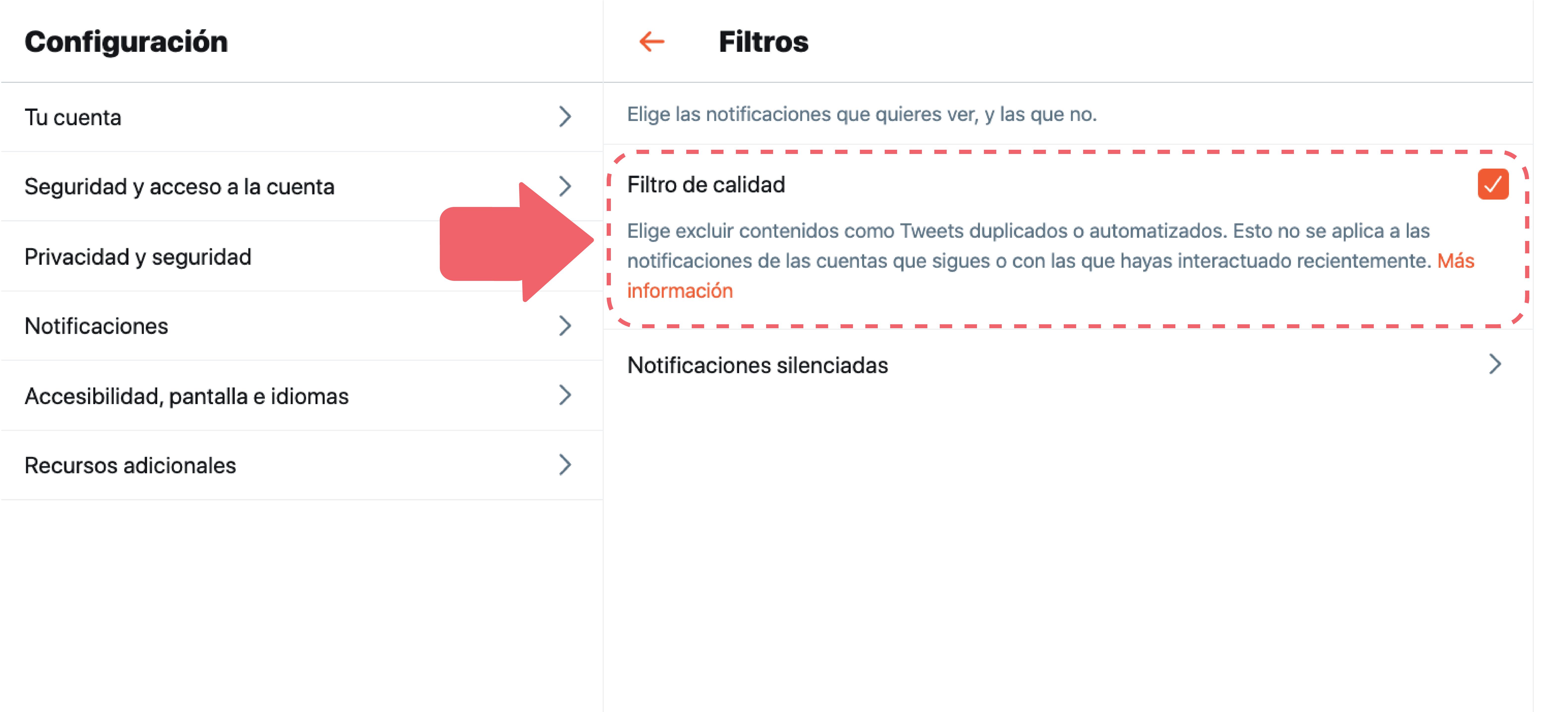 En esta opción podrás excluir contenidos como Tweets duplicados o automatizados. Esto no se aplica a las notificaciones de las cuentas que sigues o con las que hayas interactuado recientemente.