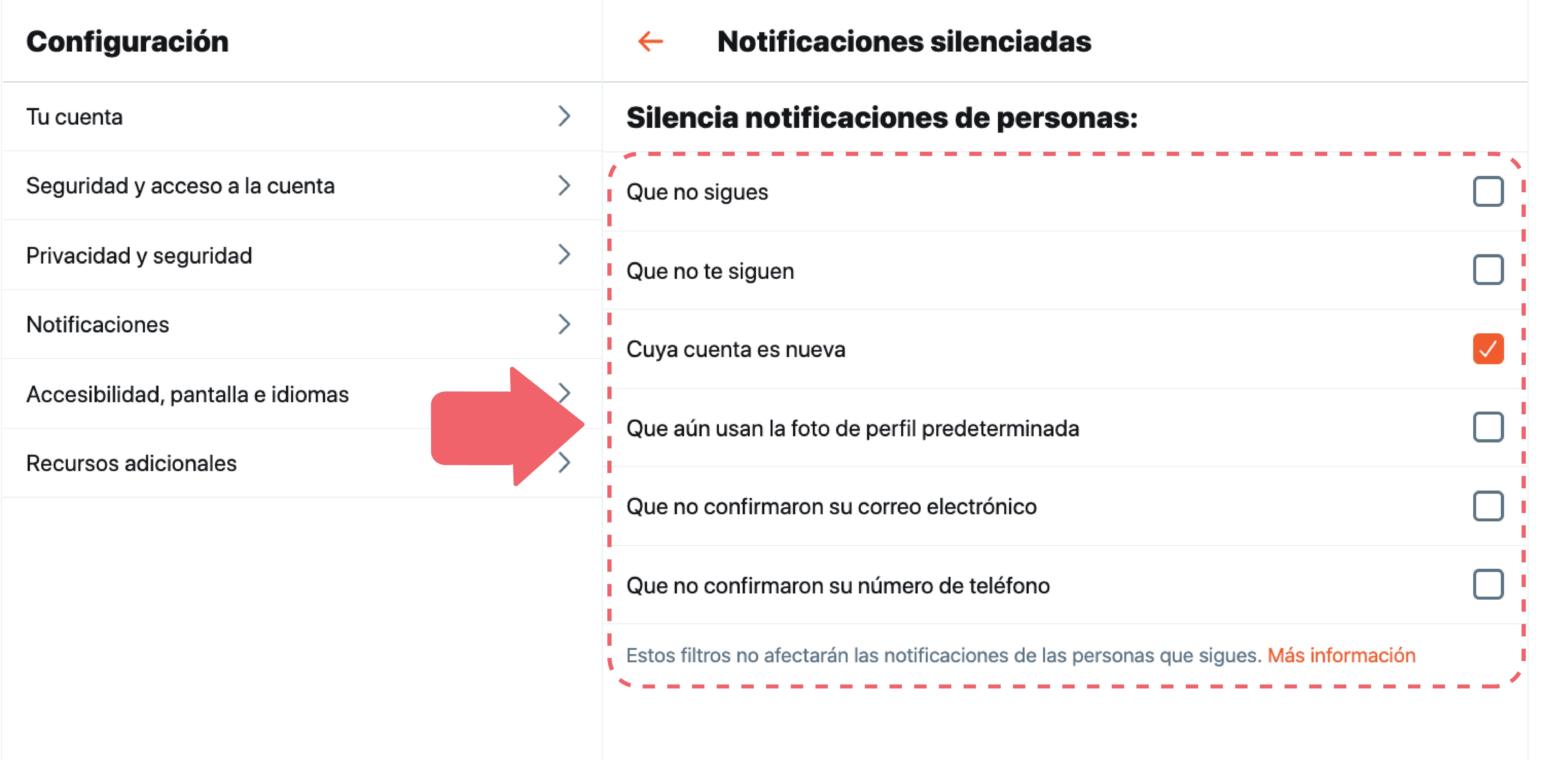 Aquí podrás silenciar las notificaciones de personas que no sigues, no te siguen, tienen una cuenta nueva, no tienen foto o no han confirmado su correo o su número telefónico.