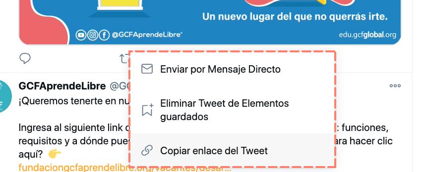 Guardar tweet o copiar enlace para pegar en otras redes sociales.