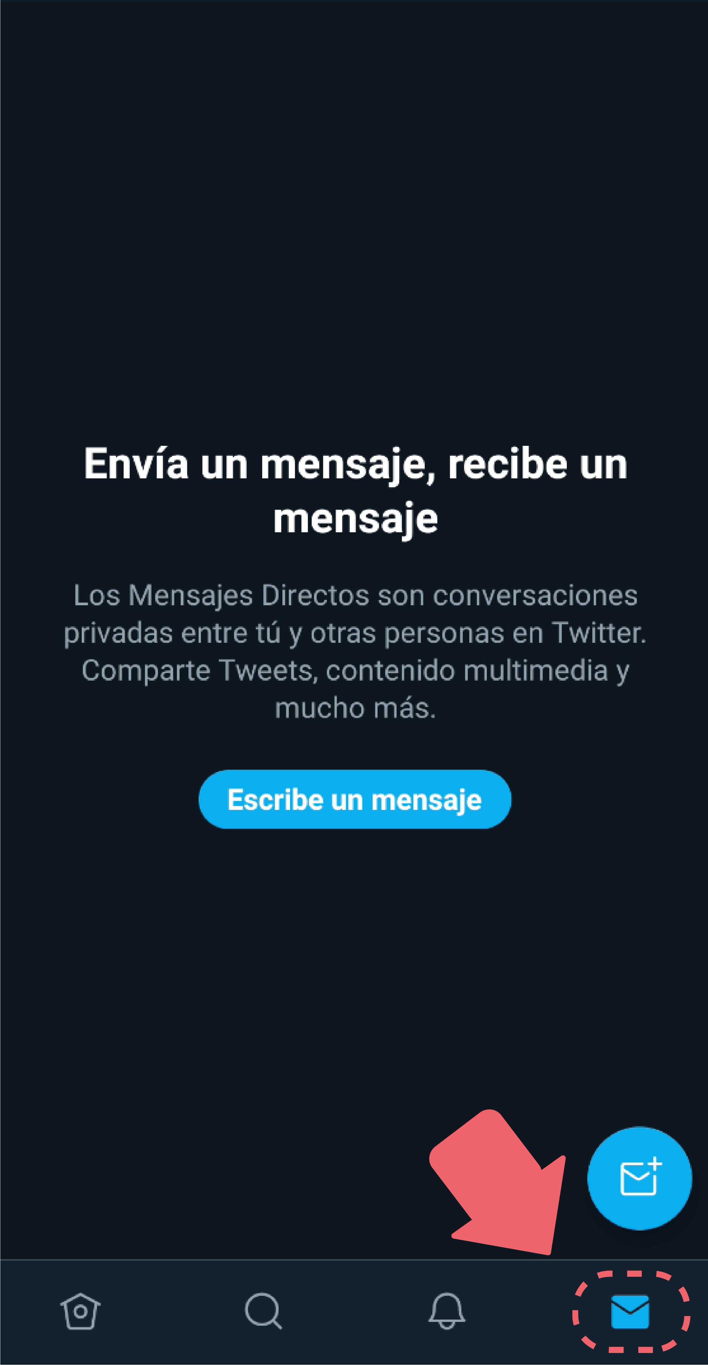 Ícono de sobre: al oprimir este ícono, irás al centro de mensajes privados que posee la aplicación, estos mensajes no tienen límite de caracteres y podrás recibirlos de usuarios que no sigues o te siguen.