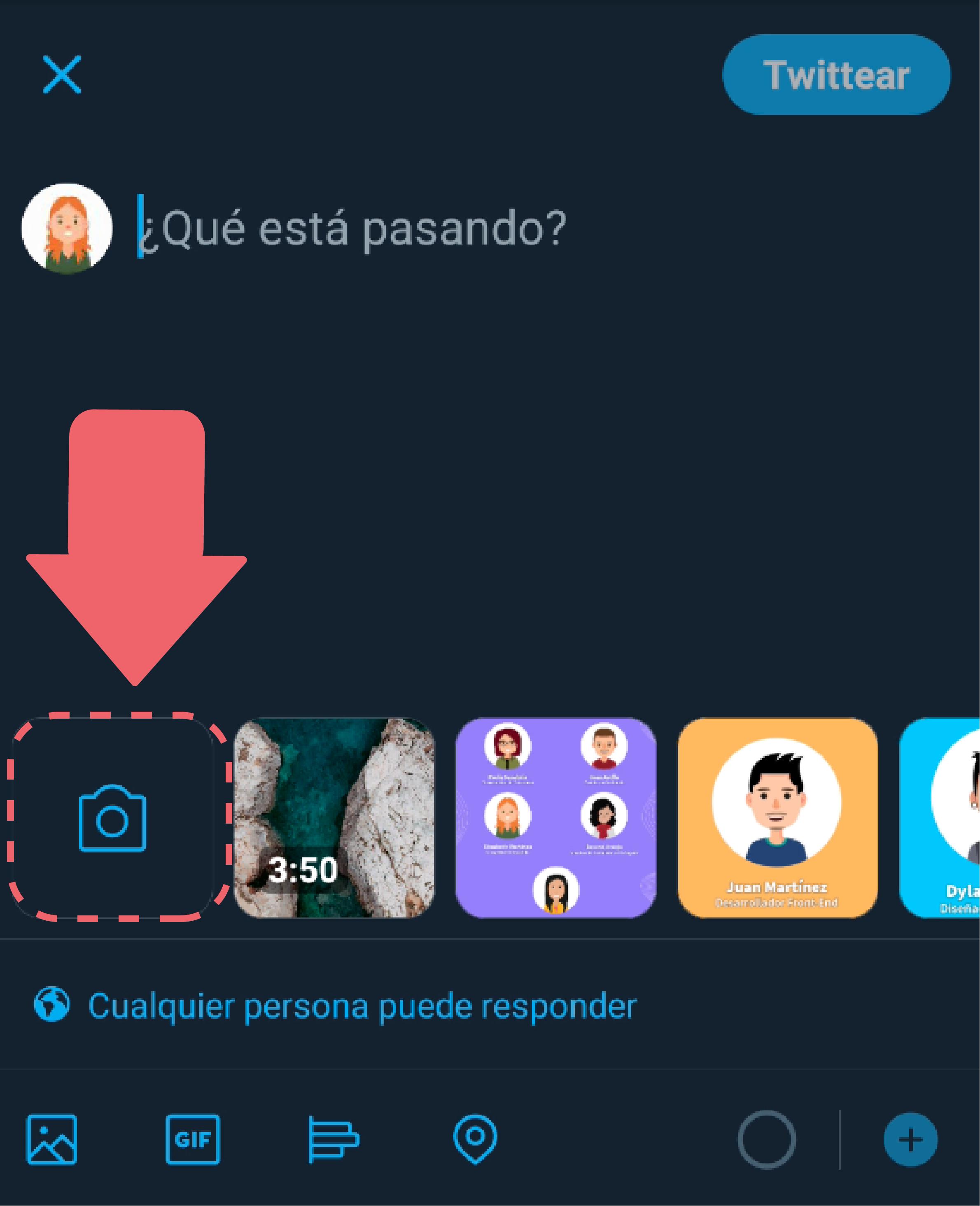 Selecciona el ícono de cámara ubicado en la parte central izquierda de la app.