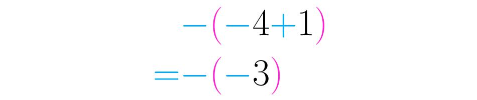 Simplificamos os símbolos consecutivos e fazemos as somas e subtrações.