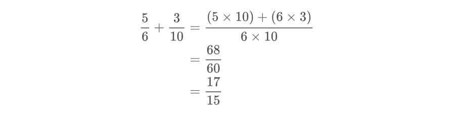 Imagen ejemplo de suma de fracciones heterogéneas.