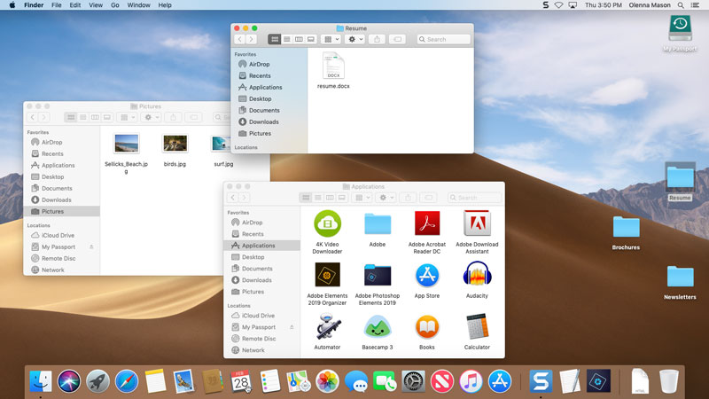 labeled screenshot of the macOS desktop