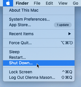 screenshot of the Shut Down command in the Apple menu