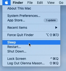 screenshot of the Sleep command in the Apple menu