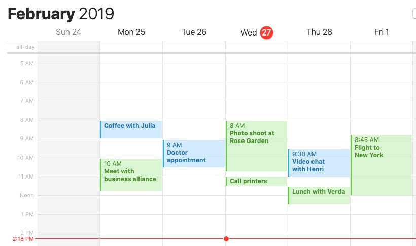 screenshot of the Calendar app
