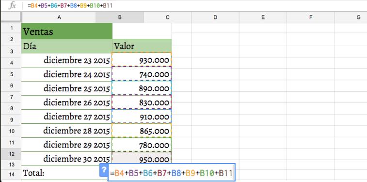 Imagen ejemplo de una fórmula en un programa de hoja de cálculo.