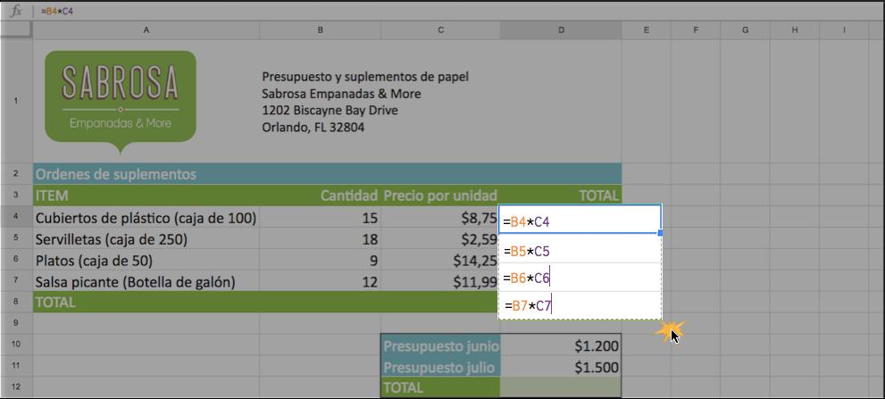 Imagen ejemplo de cómo copiar una fórmula con autorrelleno.