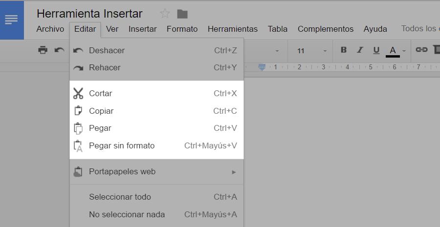 Copiar, cortar y pegar en procesadores de texto