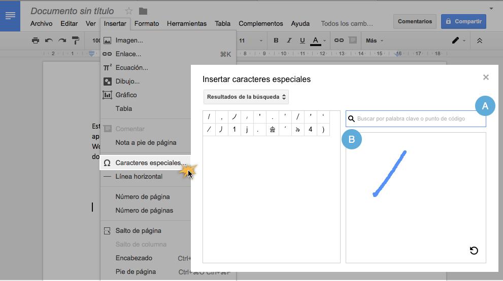 Insertar símbolos en Documentos de Google.