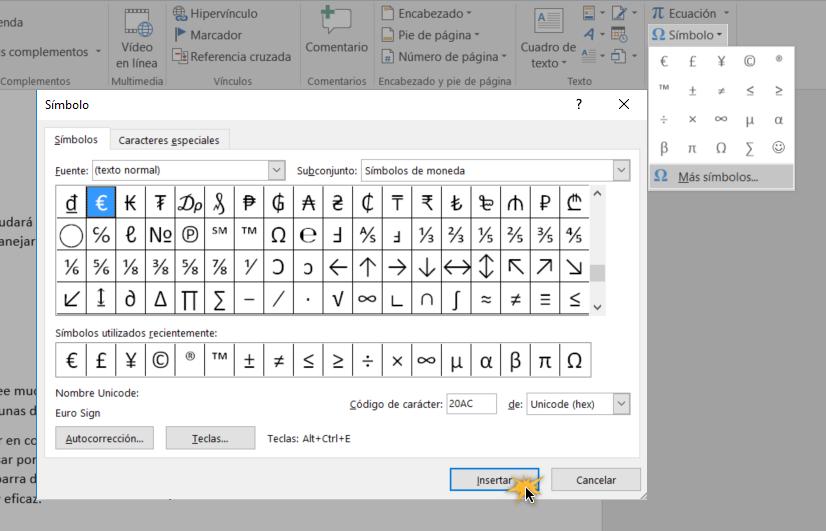 Insertar símbolos en Word Online
