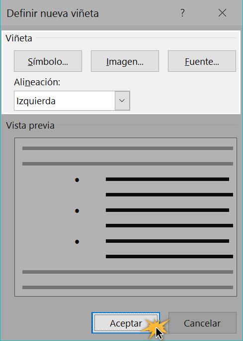 Insertar viñetas en procesadores de texto.