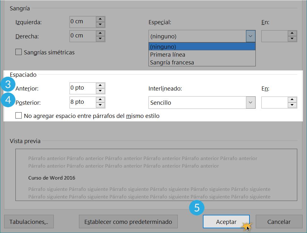 Interlineado y espaciado en procesadores de texto.
