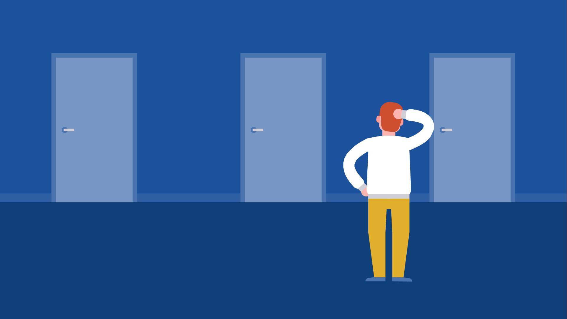 man pondering several doors in a hallway