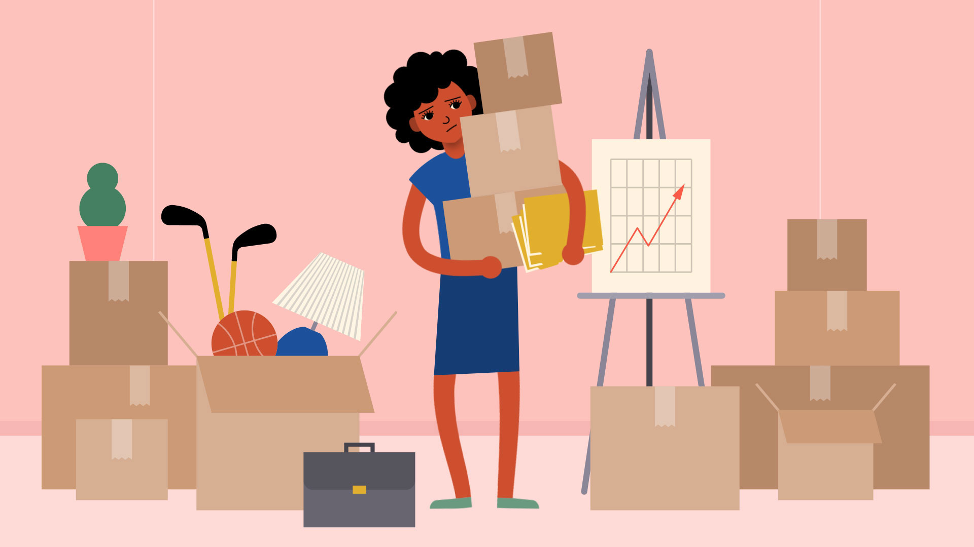 stressed woman surrounded by moving boxes