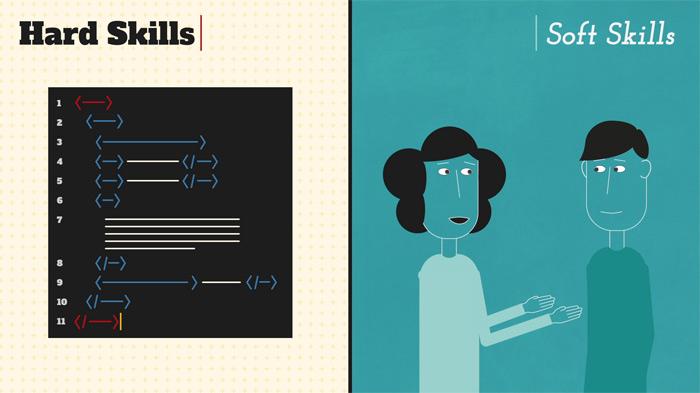 illustration comparing hard skills and soft skills
