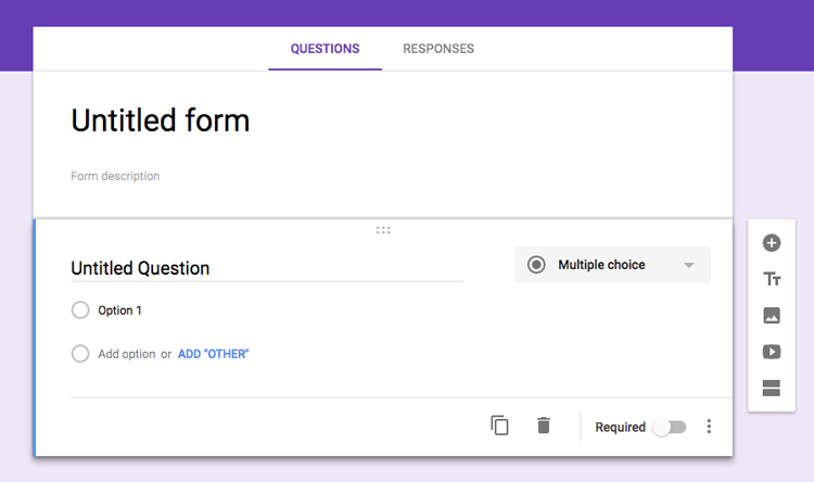 google forms interface