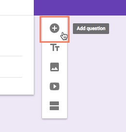 clicking add question icon