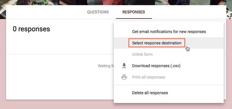 clicking select response destination