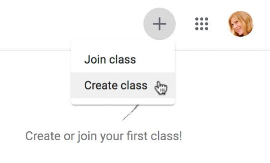 Selecting Create class