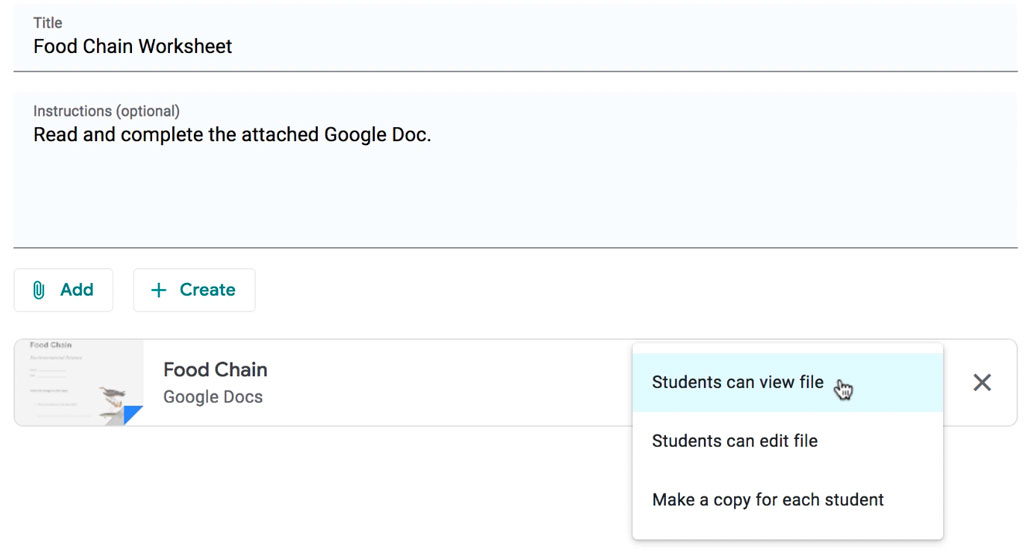selecting the Students Can View File option