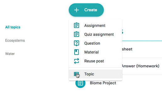 clicking the Topic option in the Create menu