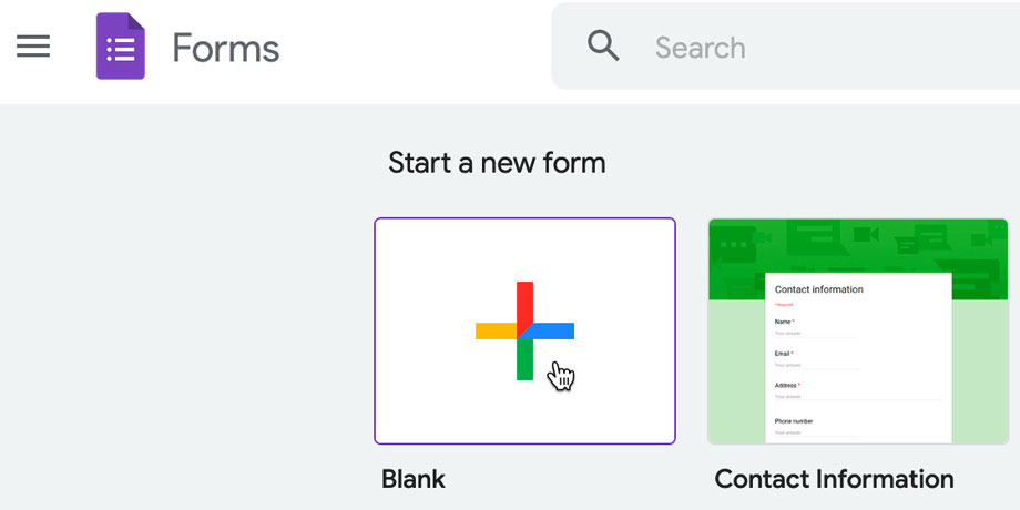 creating a blank form