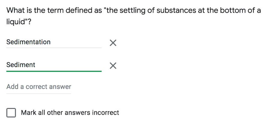 adding correct answers to a short answer question