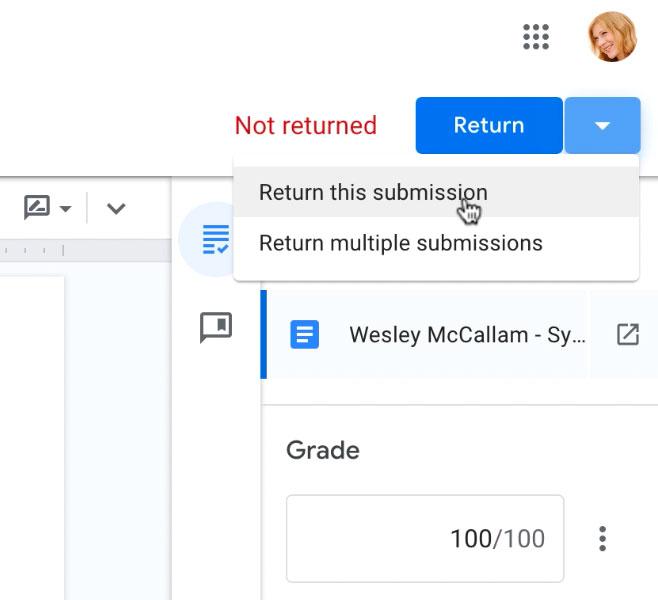 clicking the Return drop-down arrow to view menu options