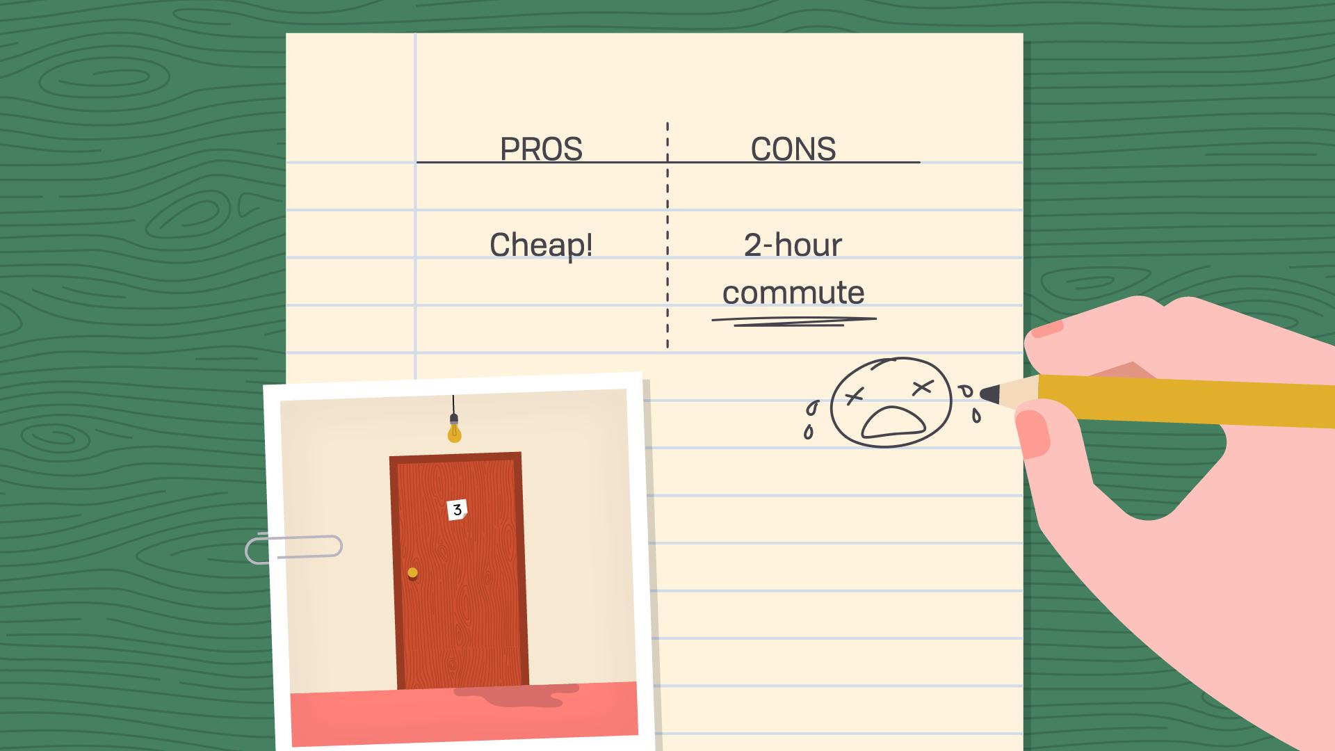 apartment 1 - pro: cheap / con: 2-hour commute