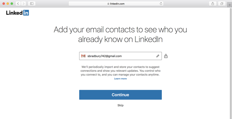 A screenshot of LinkedIn asking for the user's email address.