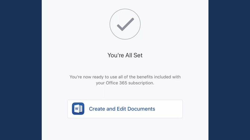 A confirmation screen for an Office 365 subscription.