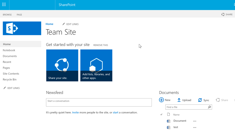 A SharePoint page for a group called Team Site.