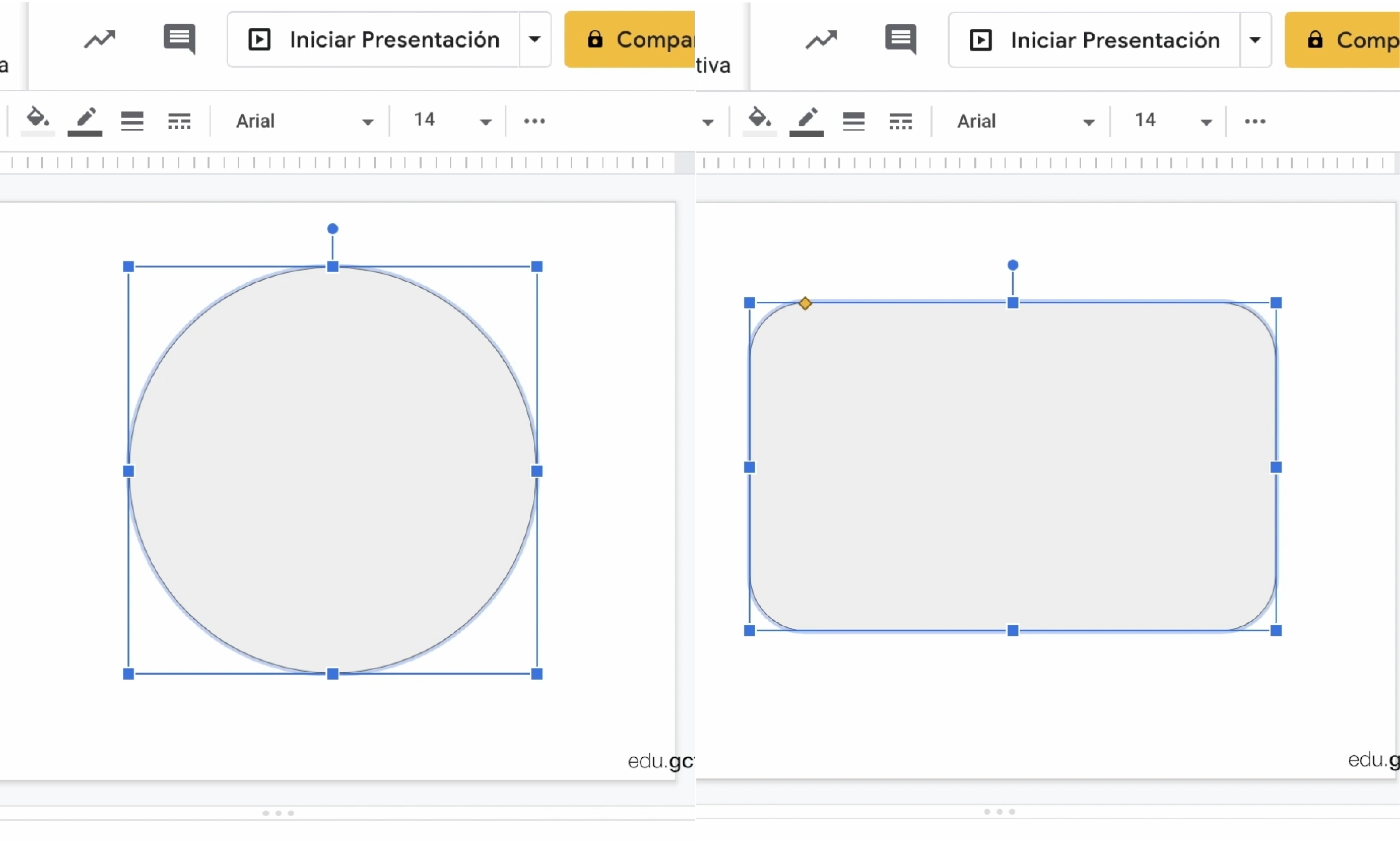 Imágenes de elipse y rectángulo de esquinas redondeadas en diapositivas.