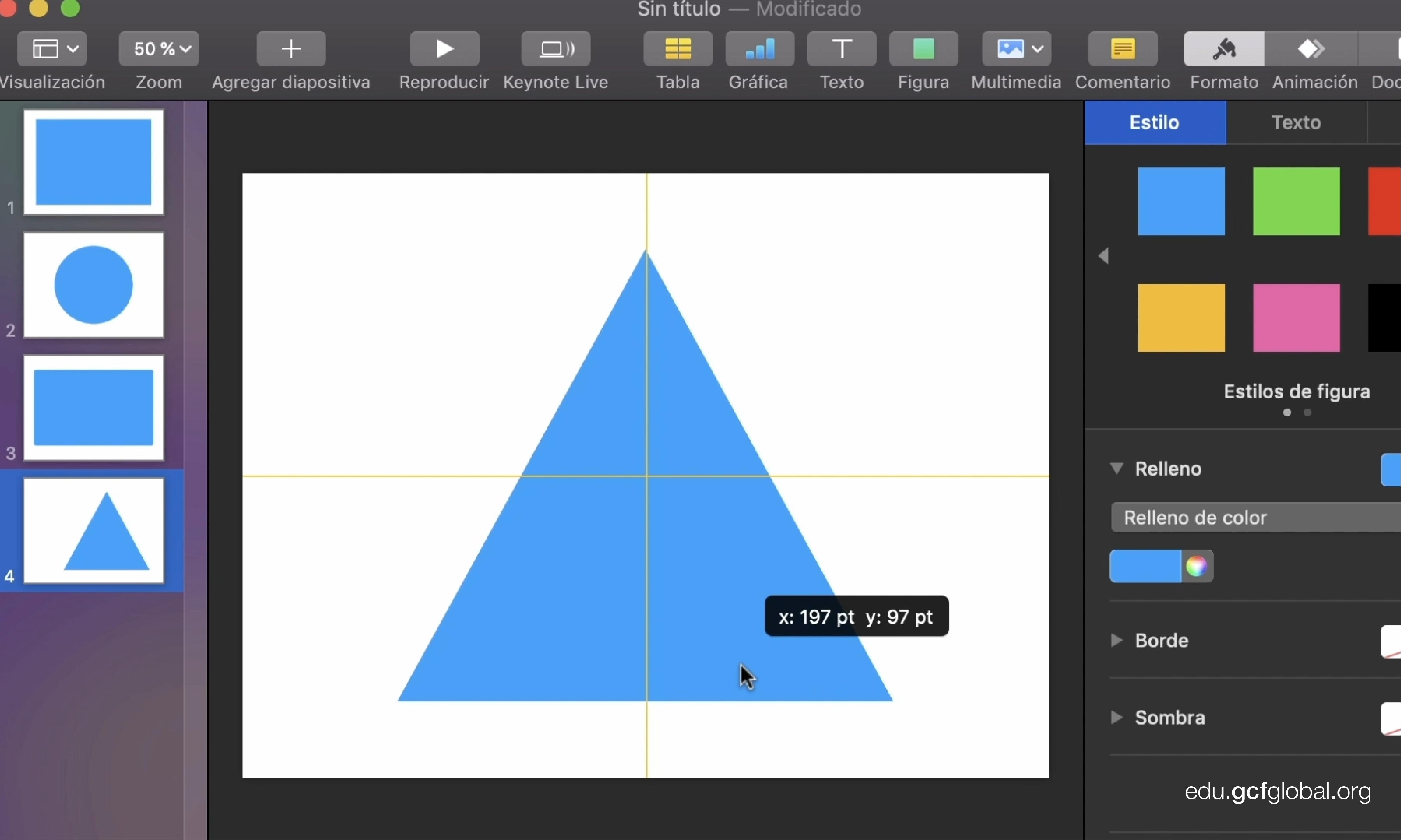 Imagen triángulo isósceles centrado con las reglas predeterminadas en Keynote.