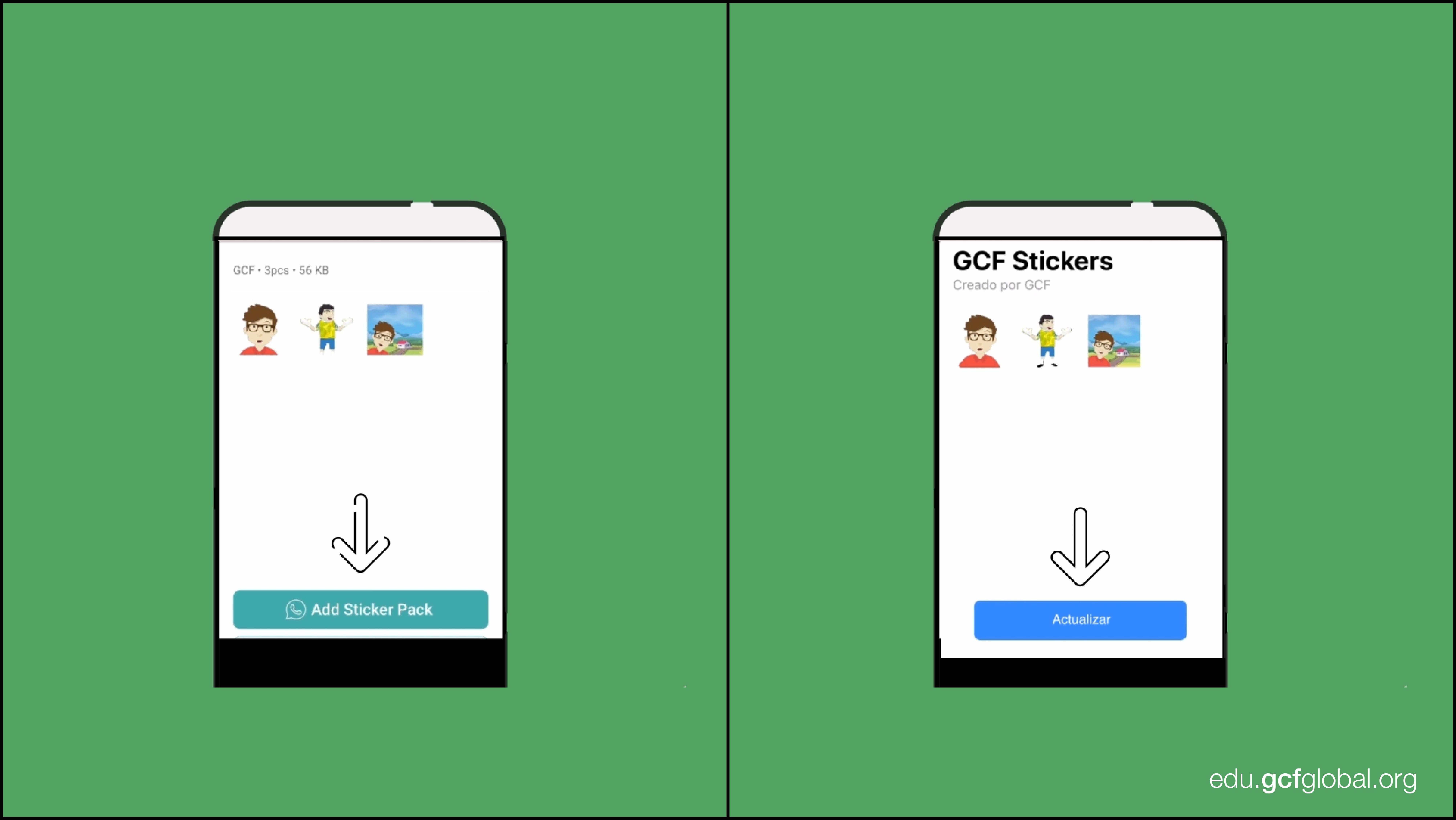 Imagen de aplicación WSTicK añadiendo los stickers a WhatsApp.