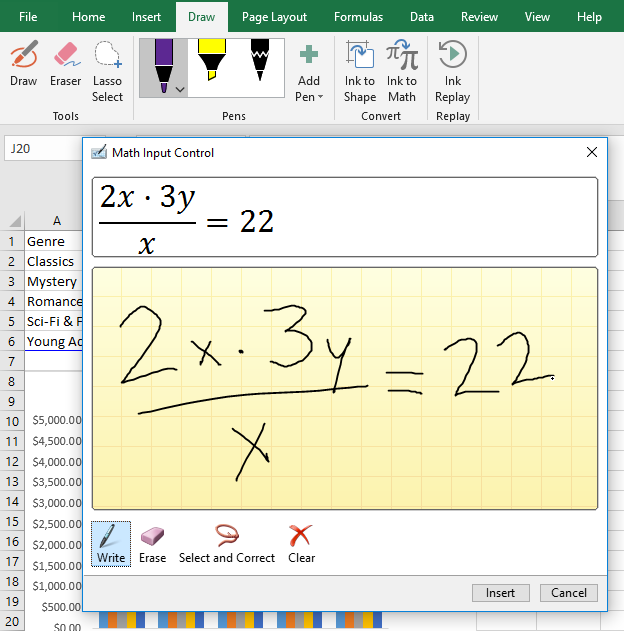 screenshot of using the Ink to Math tool to write an equation