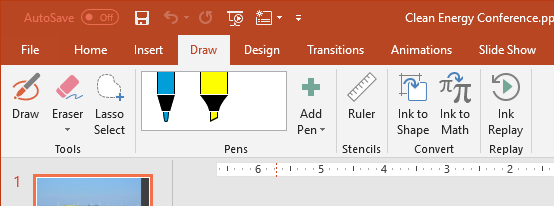 screenshot of the Draw tab in the Ribbon