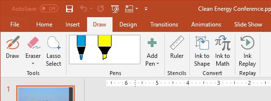 screenshot of the Draw tab in the Ribbon