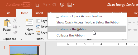 screenshot of clicking Customize the Ribbon after right-clicking on the Ribbon