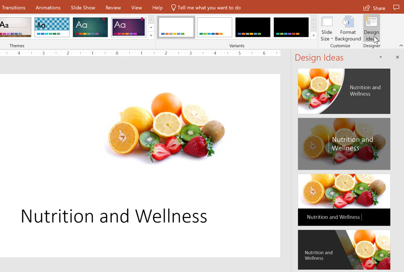 The Design Ideas feature showing various layout options in PowerPoint.